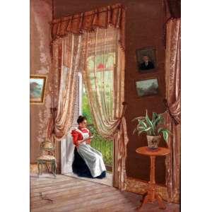 Francisco Aurelio de Figueredo, Leitura, Óleo sobre tela, 52 alt X 36 larg (cm), acie, Ano: 1891
