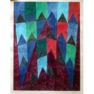 Alfredo Volpi, Banderinhas, Litografia, 55 alt X 45 larg (cm), acid, 55/150