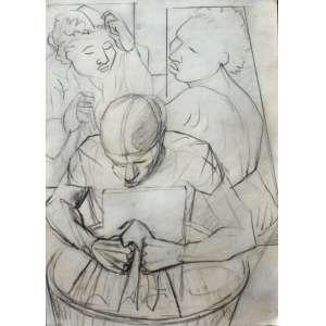 Cândido Portinari - Lavandeira com duas amigas - Desenho a grafite - 0,32 alt X 0,22 larg (cm) - 1951 Obra registrada no projeto Portinari sob numeração 0481-A - link da obra no projeto:http://www.portinari.org.br/#/acervo/obra/759