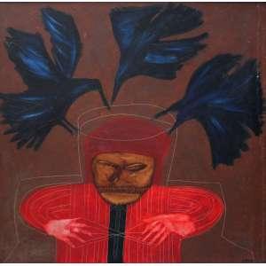 Siron Franco, Figura em Vermelho, Óleo sobre placa, 90 alt X 90 larg (cm), acid -Histórico: Década de 1970