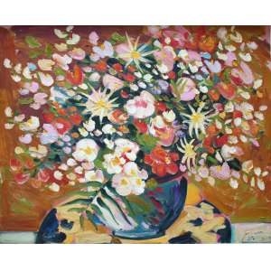 Sou Kit Gom, Vaso de Flores, Óleo sobre tela, 100 alt X 130 larg (cm), acid e verso, Ano: 2004