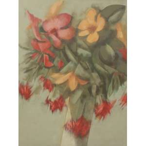 Carlos Scliar, Ibiscos e Outras Flores, Vinil e cologem sobre tela, 75 alt X 55 larg (cm), acid, Ano: 1978