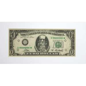 Cildo Meireles, Zero Dollar, Offset sobre papel, 6,6 alt X 15,6 larg (cm), Ano: 2019 -Histórico: Obra com dedicatória do artista