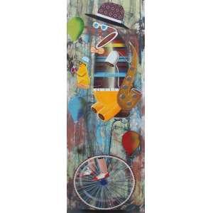 Alemão, Saxofone, Óleo sobre tela, 50 alt X 150 larg (cm), acid e verso, Ano: 2014 -Histórico: Obra sobre o Nº 000445 do Atelier do Artista