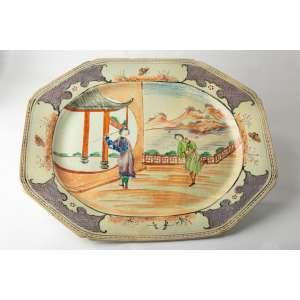 Bandeja en porcelana china compañía de indias siglo XVIII. Medidas: 3x45x36cm