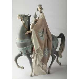 Tres reyes magos en porcelana española Lladro. 40 cm de alto.