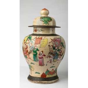 Potiche en ceramica koreana circa 1900. 40 cm de alto.