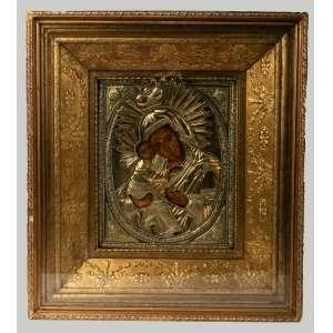 Icono ruso realizado en plata vermeil siglo XIX medidas con marco 40x45cm