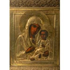 Icono ruso realizado en plata vermeil siglo XIX 40x45cm
