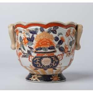 Cachepot en porcelana china firmada siglo XIX. 15 cm de alto.
