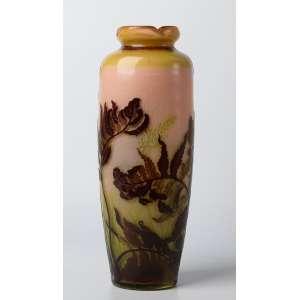 Florero en vidrio artistico frances Emile Galle modelo pulido al fuego con fondo submarino, Art Nouveau. 34 cm de alto.