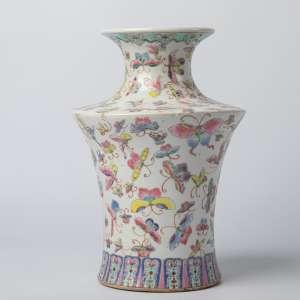 Par de floreros en porcelana china firmada circa 1900 altura 29 y 31 cm
