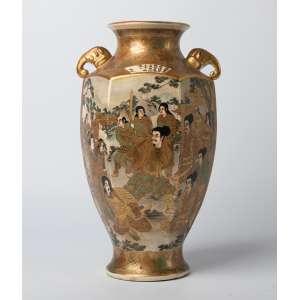 Florero en cerámica japonesa Satsuma Imperial siglo XIX. 31 cm de alto.