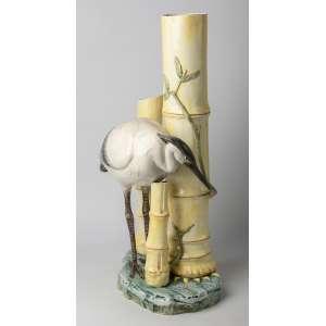 Paraguero/bastonero en cerámica francesa orientalista, circa 1900. 66 cm de alto.