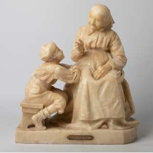 Escultura italiana realizada en alabastro La favola della nonna siglo XIX. Medidas: 43 x 38 x 22 cm