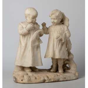 Escultura italiana de alabastro, siglo XIX. Medidas: 40 x 38 x 22 cm