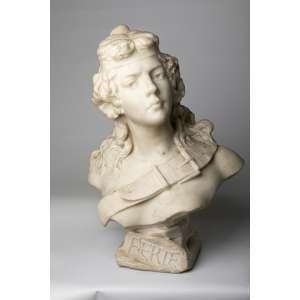 Escultura italiana en mármol de carrara Aerte firmada Piazza, siglo XIX. 60 cm de alto.