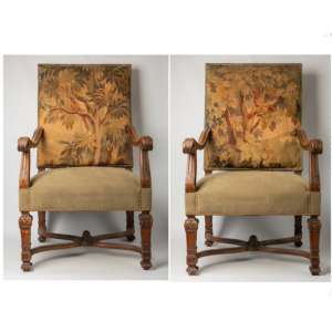 Par de sillones franceses Luis XVI con tapicería de aubusson, siglo XVIII.