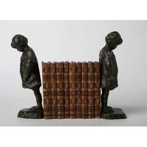Par de aprieta libros franceses en bronce a la cera perdida con libros de poesía francesa. 20 cm de alto.