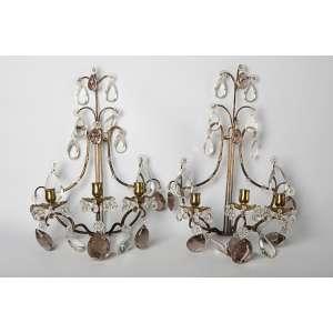 Par de apliques franceses en bronce y cristal siglo XIX. Medidas: 47 x 30 cm