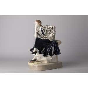 Figura en cerámica goldscheider Art deco firmada Podola circa 1920 <br />Altura 34 cm<br />largo 24cm <br />ancho 20cm<br />