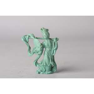 Figura china realizada en Turquesa circa 1900 <br />Altura 7cm<br />