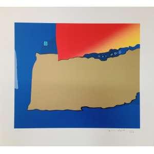 Fukuda, Abstrato azul, gravura, tiragem 40/50, datado de 2012, 50x54cm, acid, sem moldura