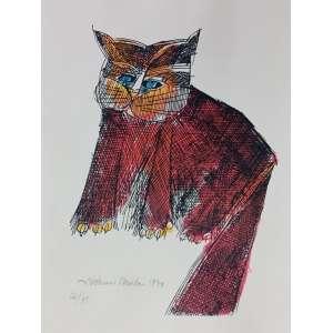Aldemir Martins, Gato vermelho, gravura, tiragem 22/75, datado de 1970, 43x30cm, acie, sem moldura