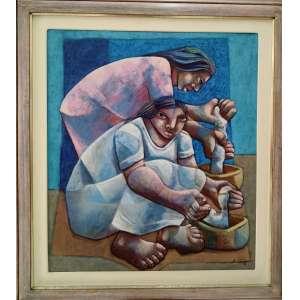 Adélio Sarro, Torvando Águas, óleo sobre tela, datado de 1988, com moldura, 80x70cm, acid