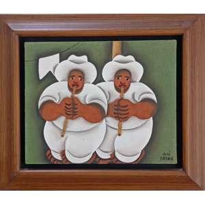 José Sabóia, Flautistas, óleo sobre tela, 22x27cm, acid, com moldura