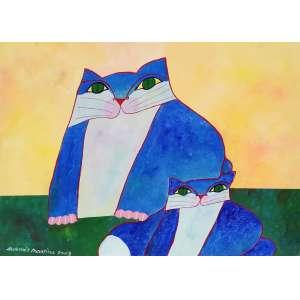 Aldemir Martins, Família de gatos, acrílico sobre tela, 60x80cm, acie, 2003, com certificado do Estúdio Aldemir Martins