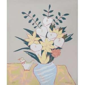 Fang, Vaso com flores, gravura colada em madeira, tiragem 128/140, 64x55cm, com moldura, acid