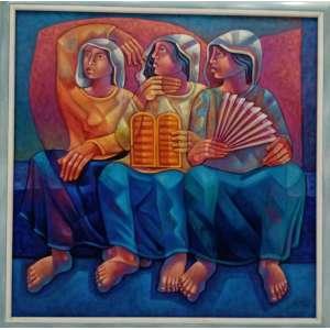 Adélio Sarro, Formas Simbólicas, óleo sobre tela, 130x130cm, com moldura