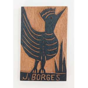 J. Borges, Pássaro, Matriz para xilogravura, madeira, 16x10cm