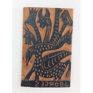 J. Borges, Dragão de 7 cabeças, matriz para xilogravura, 16x10cm, madeira