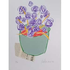 Gustavo Rosa, Vaso com flores roxas, gravura, tiragem 4/50, 50x35cm, datado de 1992, acid