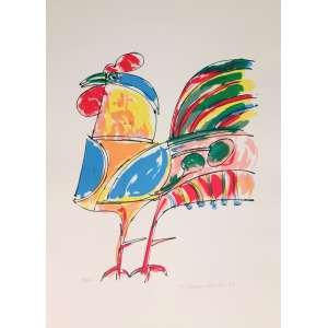 Aldemir Martins, Galo, gravura, tiragem 14/100, datado de 1974, sem moldura, 60x44cm, assinado<br />pelo artista