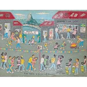 Tavares, Festa de São Benedito, acrílico sobre tela, 30x40cm, acid, sem moldura
