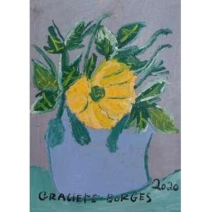 Graciete Borges, Flor amarela, óleo sobre eucatex, 26x19cm, datado de 2020, sem moldura
