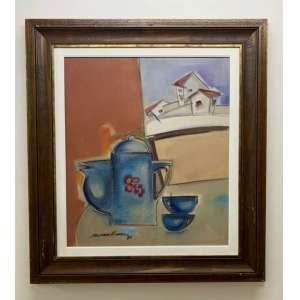 Sérgio Ferreira - O Bule Azul – 70 x 61 cm – OSTCM – Ass. CIE e Dat. 1989 - Moldura 97,5 X 88,5 cm