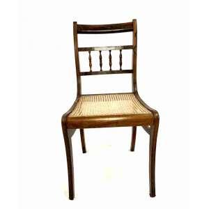 cadeira sem braço, em madeira e palinha