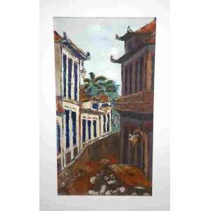 Dulce -OST – Pintura Espatulada Ass. CID e Dat. 1975 – mede65 x 39 cm e com moldura 75 x 48 cm