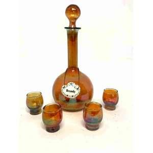 Licoreira em vidro fogo, 4 copos