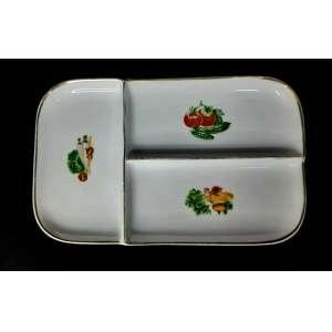 Petisqueira porcelana Steatita com frisos dourados. 31 compr x 19 larg x 3cm altura