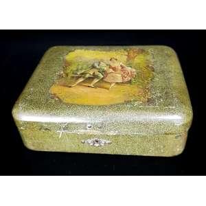 Antiga caixa alemã - Porta joias em madeira, com delicada pintura no tampo. Tem fechadura mas falta chave. Mede 21 x 17 x 6cm altura