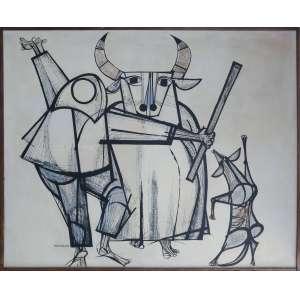 Aldemir Martins - Bumba meu boi, técnica mista sobre tela, 131 x 162 cm, assinado e datado 1962 no canto inferior esquerdo.