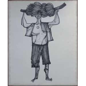 Aldemir Martins - Bananeiro, técnica mista sobre tela, 164 x 131 cm, década de 1960, assinado no canto inferior direito.