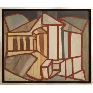 Aldo Bonadei - sem título, óleo sobre tela, 65 x 78,5 cm, assinado e datado 1955 no canto inferior esquerdo