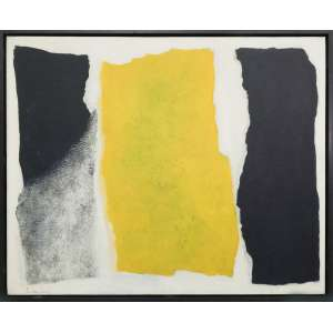Tomie Ohtake - Pintura, óleo sobre tela, 81 x 100 cm, assinado e datado 1967 no canto inferior esquerdo e no verso. Reproduzida sob número 71 no livro Tomie, autoria de Casimiro Xavier de Mendonça. Com etiqueta da Retrospectiva no Masp em 1983, no verso,