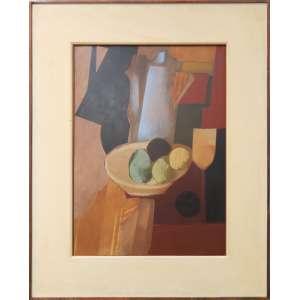 Carlos Scliar - Bule azul, frutas, etc., óleo sobre madeira, 75 x 55 cm, 1969.
